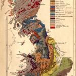 """A fabulosa obra de William Smith: """"Mapa Geológico da Inglaterra, País de Gales e Parte da Escócia"""", do ano de 1815."""