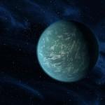Concepção artística de Kepler-22b, um planeta que orbita confortavelmente a zona habitável de uma estrela parecida com o Sol. Crédito: NASA/Ames/ PL-Caltech