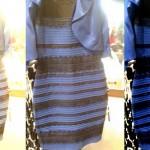 A imagem original está no meio. À esquerda, com equilíbrio de branco, como se o vestido fosse dourado. À direita, com equilíbrio de branco para azul escuro.