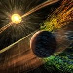 Representação artística de uma tempestade solar atingindo Marte e descascando íons da atmosfera superior do planeta. Crédito de imagem: NASA / GSFC.