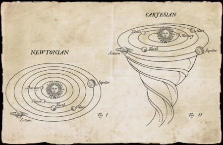 A proposta de Newton de que a gravidade mantinha os planetas no lugar era baseada em observações e matemática. A teoria do éter cósmico giratório de Descartes era uma conjectura imaginária. Crédito: Bob Venables / Illustration Ltd.