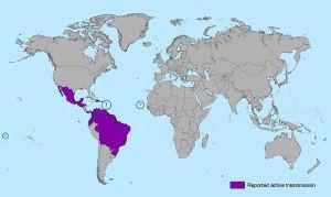 Países que tiveram ou têm contato com o vírus Zika, até janeiro de 2016 (CDC)