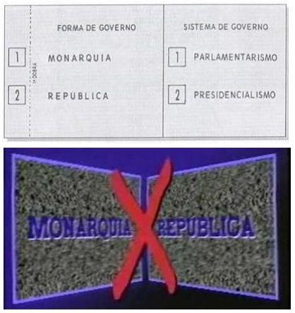 Cédula do plebiscito de 1993 e propaganda de televisão da época.