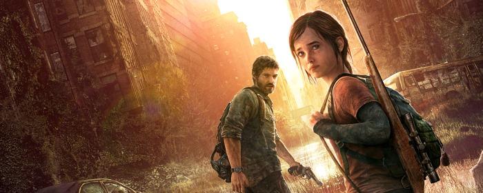 Os personagens principais do jogo: Joe e Ellie. A história não se trata apenas de sobrevivência em um mundo apocalíptico, como também da integração entre humanos; no caso, uma garota órfã e um pai que perdera a filha. Créditos: Naughty Dog.