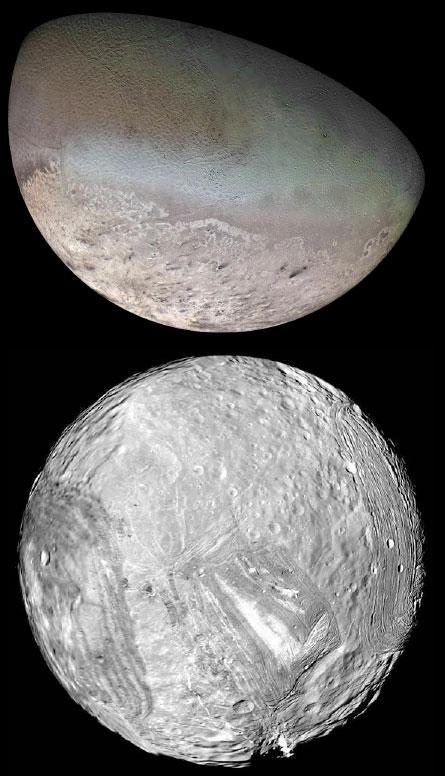 A maior lua de Netuno, Tritão (em cima) é um mundo em constante mudança de forma ativa e um primo distante de Plutão. Miranda (inferior), um satélite de Urano, abriga uma miscelânea de terrenos e o mais alto do penhasco conhecido - cerca de 20 km - no sistema solar.