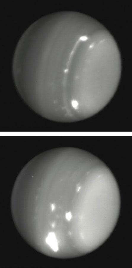 Tempestades (pontos brilhantes) em erupção em 2014 em um Urano normalmente adormecido, visto nestas imagens infravermelhas pelo Observatório Keck.