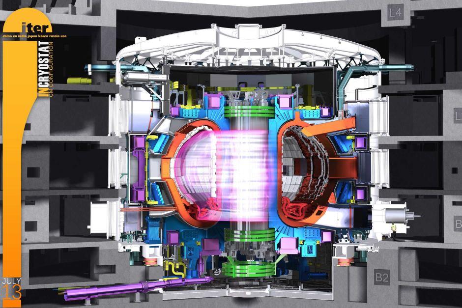 Representação artística da vista em corte do reator de fusão tokamak ITER em operação. (ITER)