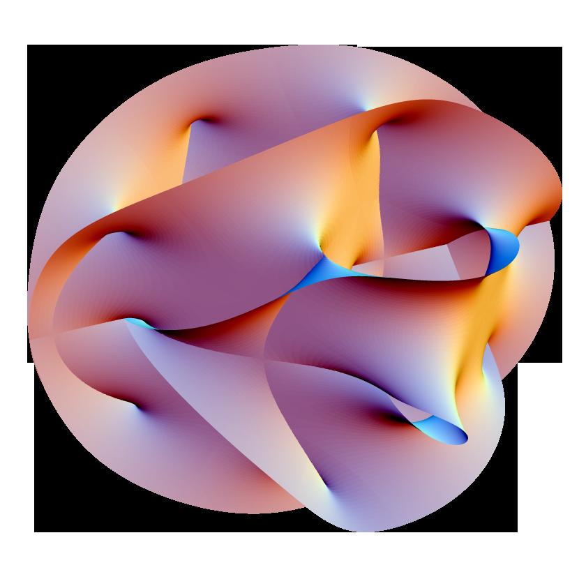 Projeção 2-D de uma variedade de Calabi-Yau, um método popular de compatificação extra de dimensões indesejadas da Teoria de Cordas.