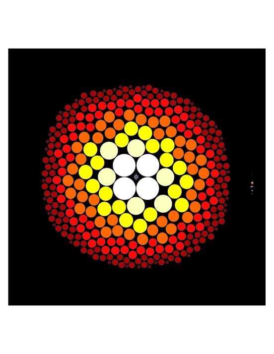 Uma representação gráfica de todas as estrelas conhecidas dentro de 32,6 anos-luz (10 parsecs) de distância da Terra. Estrelas de cada categoria no sistema de classificação estelar são representadas por círculos preenchidos com tamanhos proporcionais ao tamanho da estrela e cores que se aproximam de suas verdadeiras cores. O Sol, uma estrela do tipo G, é representada por um dos círculos amarelos. As anãs M são subdivididas em dois tons de vermelho e em 3 tamanhos diferentes para representar a diversidade dentro da classe M. Anãs M vastamente superam todos os outros tipos. Os pontos muito pequenos no centro representam restos estelares que esgotaram seu combustível nuclear e são chamadas de anãs brancas. Os 8 planetas do Sistema Solar também são traçados para comparação de tamanho, com Mercúrio e Marte demasiadamente pequenos para serem perceptíveis. A contagem atualizada está disponível em www.recons.org. Cortesia de Todd J. Henry / RECONS.