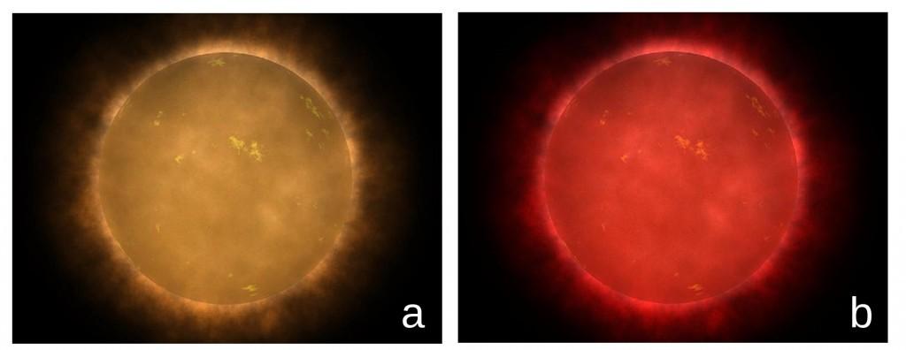 Concepção artística de uma estrela anã vermelha vista de perto. Pensa-se que as anãs vermelhas mais quentes pode realmente parecer mais laranjas do que vermelhas devido à maior sensibilidade do olho humano para o amarelo claro (a), enquanto que as anãs vermelhas frias provavelmente pareceriam vermelho brilhante. Crédito: Walt Feimer / NASA.
