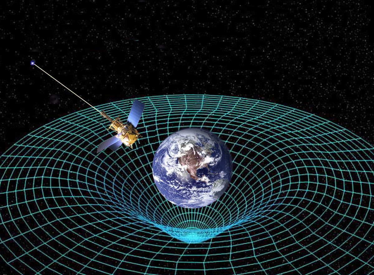 Concepção artística da Gravity Probe B em órbita da Terra para medir a curvatura do espaço-tempo.