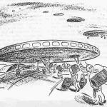 Charge publicada no jornal The New Yorker em 1950, e que teria motivado a pergunta de Fermi sobre a vida alienígena, em um almoço entre físicos.