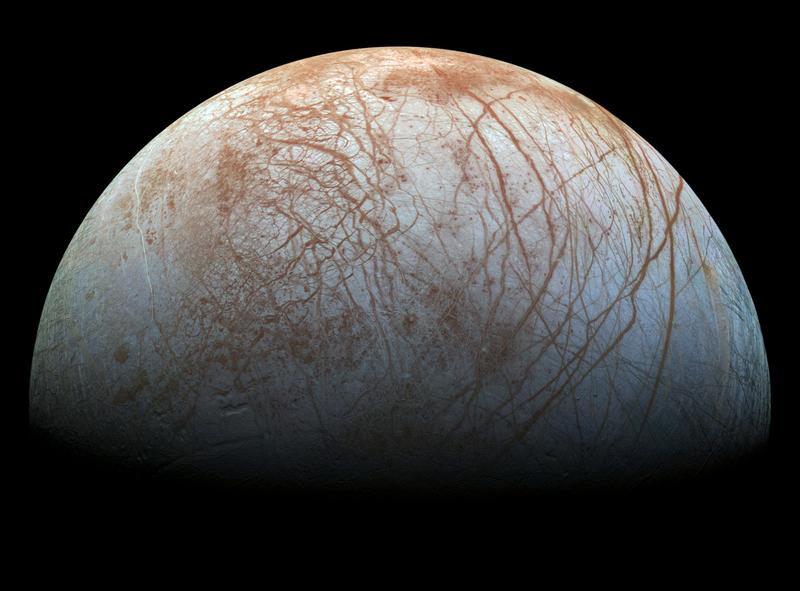 Serpentinização, que pode ocorrer em Enceladus, também pode ocorrer em outras luas, como Europa (na foto). Crédito: NASA/JPL/CaltechInstituto SETI.