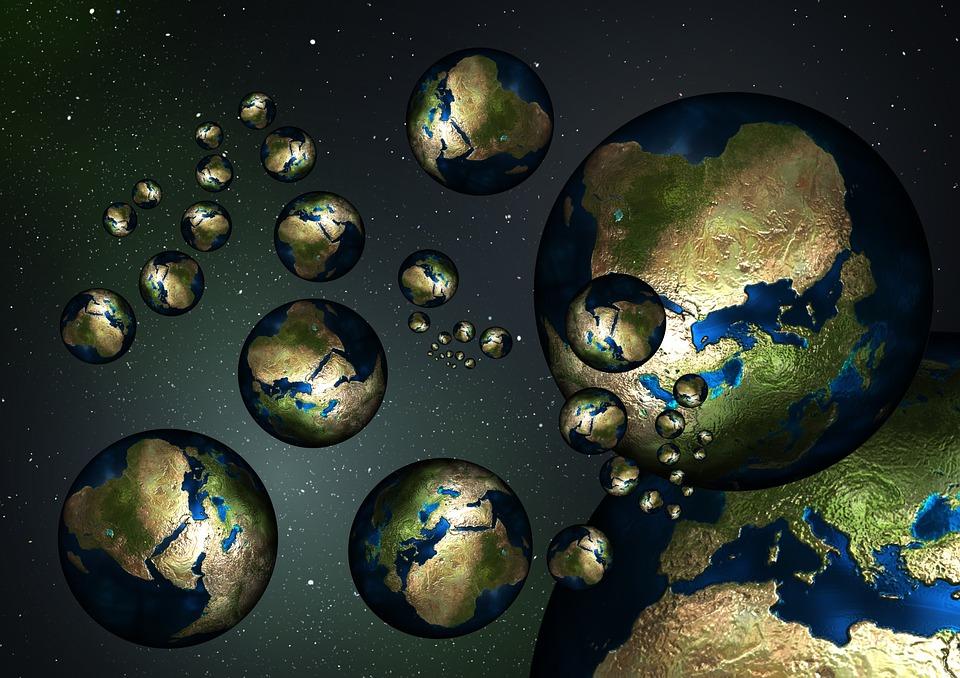 Concepção artística de mundos rochosos.