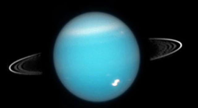 Uma imagem do Telescópio Espacial Hubble de Urano e seus anéis. (NASA)