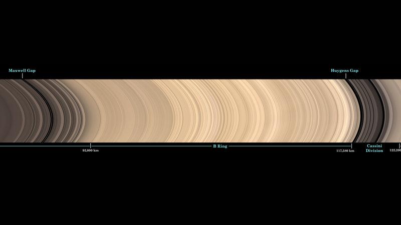 Esta imagem foi cortada a partir de uma vista panorâmica do principal sistema de anéis de Saturno, e inclui os nomes das principais características do anel. Créditos: NASA / JPL-Caltech / Space Science Institute.
