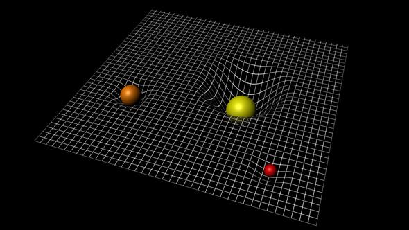 Objetos com massa distorcem o espaço, e é isso que sentimos como gravidade.
