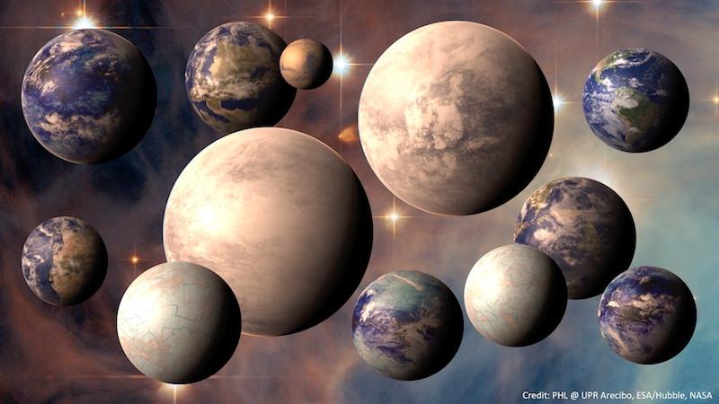 A ilustração deste artista mostra alguns dos planetas identificados no Catálogo de Planetas Habitáveis. Um telescópio projetado para a visualização direta da superfície de exoplanetas poderia potencialmente identificar mais sinais de habitabilidade, ou mesmo a vida, em outros planetas. Crédito: PHL @ UPR Arecibo, ESA / Hubble, NASA.