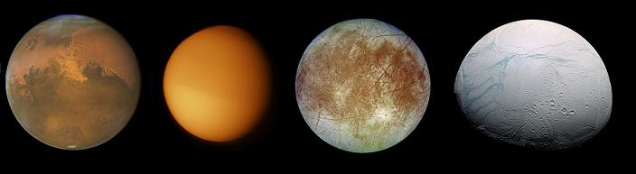 Marte, Titã, Europa e Encélado, respectivamente (imagem fora de escala).
