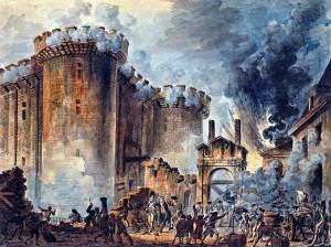 O povo toma a bastilha, símbolo da opressão monárquica, pegam em armas, discutem democraticamente e decidem ser sujeitos da História.