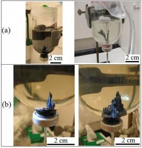 """Estruturas minerais do tipo chaminé criadas em laboratório a partir de soluções que contenham ferro, enxofre e silício sob a) baixa concentração e b) alta concentração. Em (a) vê-se estrutruas que se assemelham a um montículo (esquerda) e um """"eixo"""" (direita), enquanto que em (b) vê-se a formação de """"jardins químicos"""". Fonte: Bradley Burcar et al., Astrobiology."""