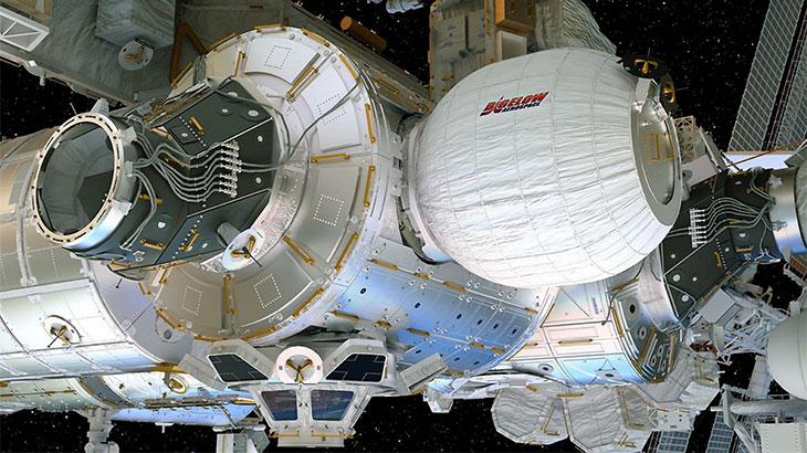 Em 26 de maio, os astronautas a bordo da Estação Espacial Internacional irão testar a tecnologia do habitat flexível para a exploração do espaço profundo. Crédito: Bigelow Aerospace.