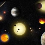Concepção artística mostra as descobertas planetárias feitas pelo telescópio espacial Kepler da NASA.Créditos: NASA / W. Stenzel.