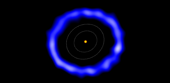 Imagem feita pelo ALMA do anel de cometas em torno de HD 181327 (cores foram alteradas). Os contornos brancos representam o tamanho do Cinturão de Kuiper no Sistema Solar. Crédito: Amanda Smith, da Universidade de Cambridge.