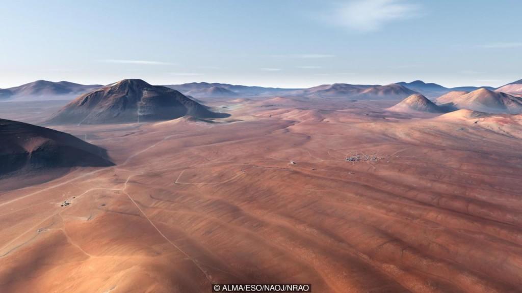Renderização artística do ALMA Array.(Crédito: ALMA/ESO/NAOJ/NRAO)