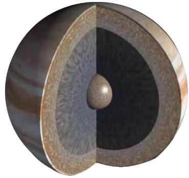 Juno deve ajudar os cientistas a ver abaixo das nuvens de Júpiter. Os novos dados podem ser capazes de mostrar se o planeta tem um núcleo de rocha e gelo debaixo do hidrogênio metálico líquido (cinza escuro) e gás hidrogênio e hélio (marrom). Crédito: JPL-Caltech / NASA.