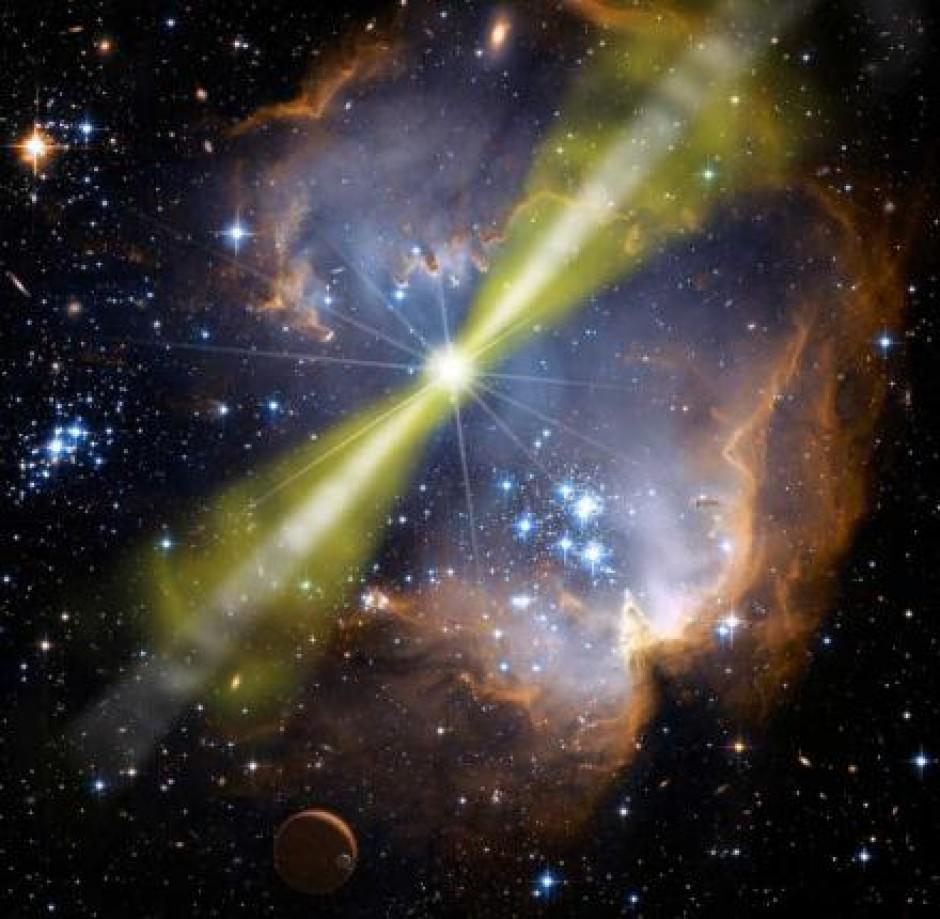 Ilustração de uma explosão de raios gama em uma região de formação estelar. Esses fenomenos poderiam estar acelerado as UHECRs às suas enormes energias? [NASA/Swift/Mary Pat Hrybyk-Keith and John Jones]