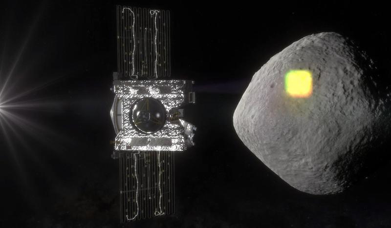 Representação artística do OSIRIS-Rex mapeando o asteroide Bennu durante o seu ano de levantamento antes de coletar uma amostra para retornar à Terra. Crédito: NASA / Goddard / University of Arizona.