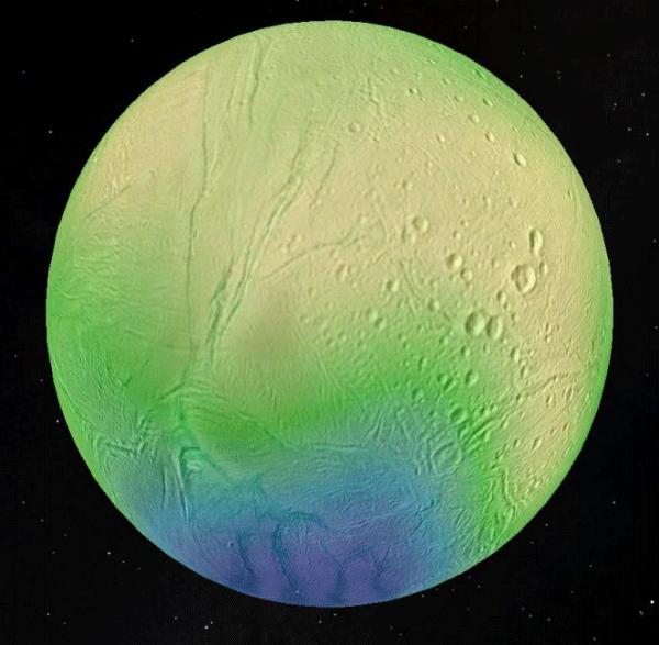 Imagem que mostra a espessura da concha de gelo de Enceladus, que chega a 35 km nas regiões equatoriais (mostrado em amarelo) e menos de cinco quilômetros na região polar sul (em azul). Crédito: LPG-CNRS-U. Nantes / U. Charles, Praga.