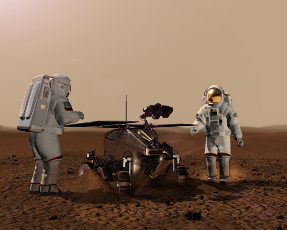 Futuro rover ExoMars, que é planejado para lançamento em 2018 e é o resultado da colaboração entre a Agência Espacial Europeia (ESA) e a Agência Espacial Federal Russa (Roscosmos), é designado para procurar por bioassinaturas de vida marciana passada ou presente. Crédito da imagem: ESA.