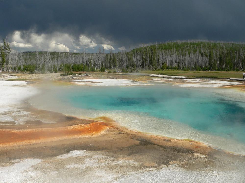 Vírus podem sobreviver em águas termais, como a encontrada no Grand Prismatic Spring (Grande Fonte Prismática) no Parque Nacional de Yellowstone, nos EUA, com temperaturas chegando a 93 graus Celsius. Crédito da Imagem: David Monniaux.