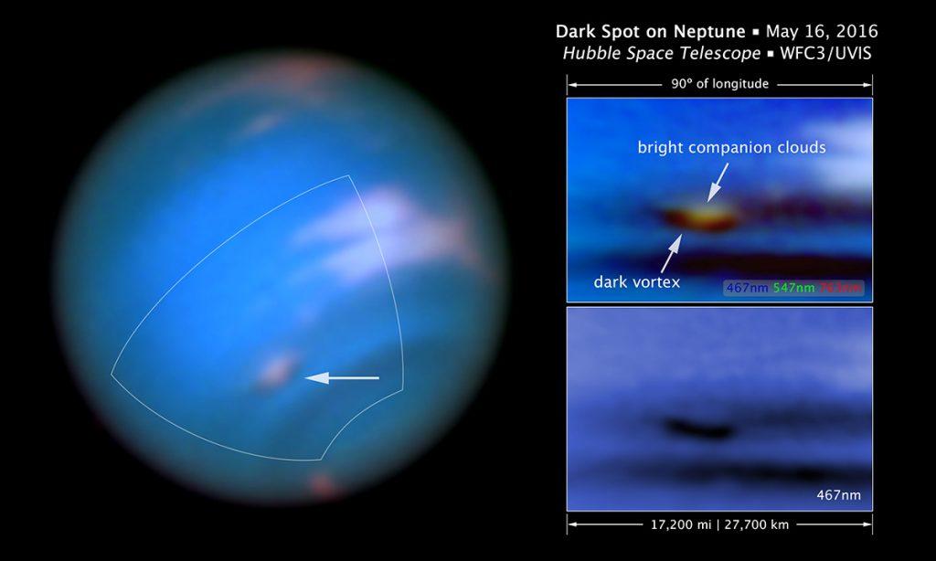 Imagens de Netuno tiradas pelo Hubble. À direita, dados obtidos em diferentes comprimentos de onda (Crédito: NASA, ESA, e Z. Levay (STScI)).