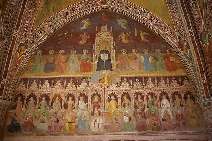 O Triunfo de Santo Tomás – Andrea de Bonaiuto (1343 – 1377) Afresco entre 1365 e 1368 Averróis está no centro da pintura, logo abaixo do homem vestido de preto, usando uma veste amarela e apoiado por um livro vermelho, provavelmente de Aristóteles.