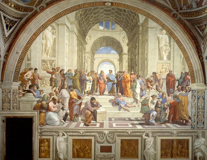 Escola de Atenas - Rafael Afresco entre 1509 e 1510 (500 x 700 cm) Averróis está no canto inferior esquerdo, usando verde e inclinado para frente, logo atrás de dois homens calvos sentados.