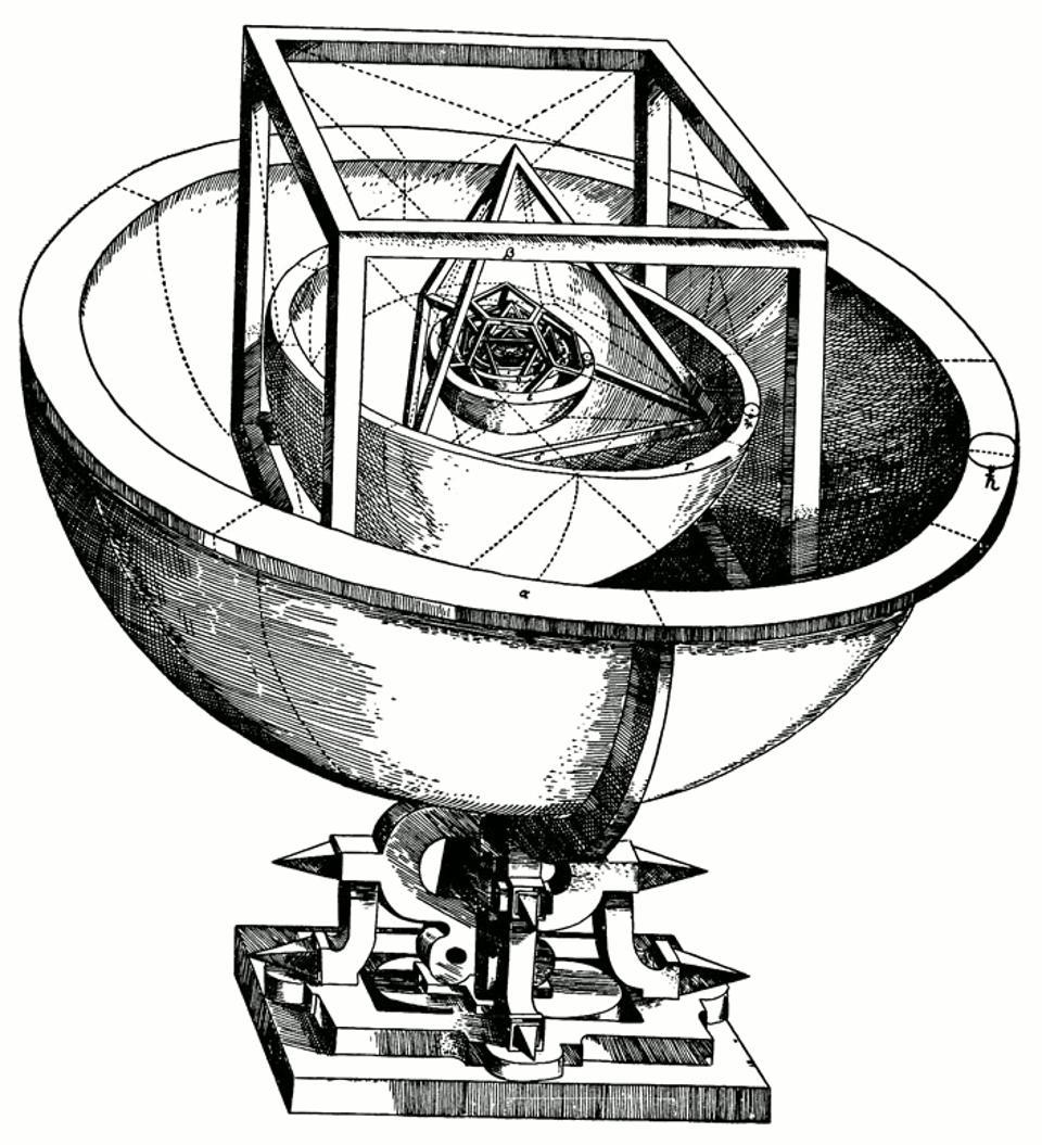 O modelo Kepler's Platonic de Sistema Solar do Mysterium Cosmographicum (1596). Créditos da Imagem: J. Kepler.