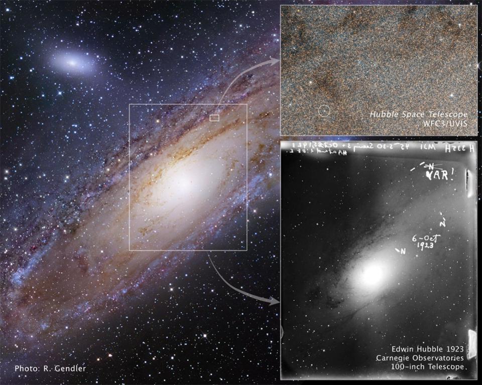 A descoberta do Hubble de uma Cefeida da galáxia Andrômeda (M31) aumentava nosso campo de visão para o Universo (Crédito na imagem: E. Hubble, NASA, ESA, R. Gendler, Z. Levay e equipe do Hubble Heritage)